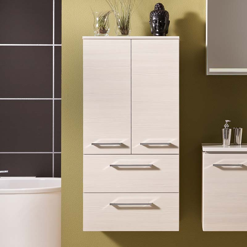 LUNIC Wall Hung Bathroom Storage Side cabinet 2 door 2 draw