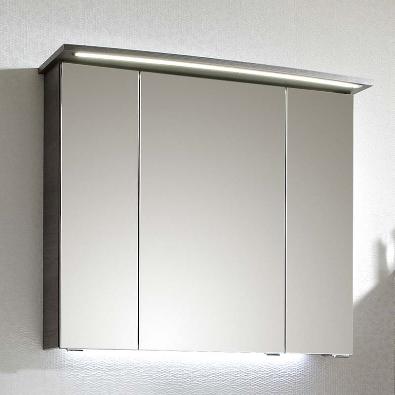 LUNIC 3 Door Illuminated Mirror Cabinet with Power Outlet ...