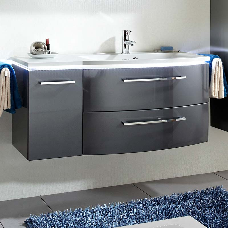 Pine Bathroom Vanity Unit: Lunic 1100 Wall Hung Vanity Unit With Right-Handed Basin