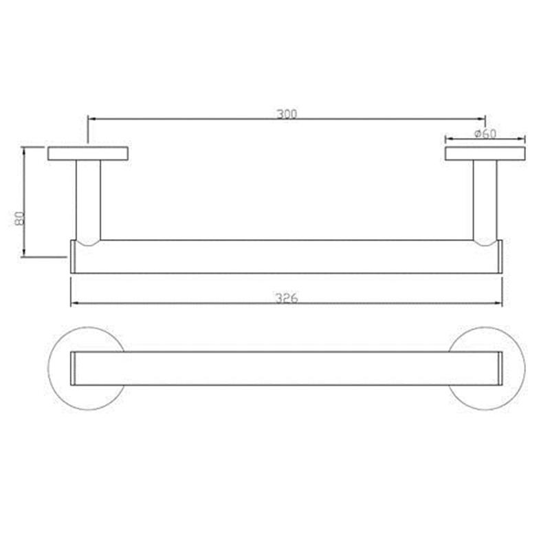 Continental Towel Rail 300mm Long