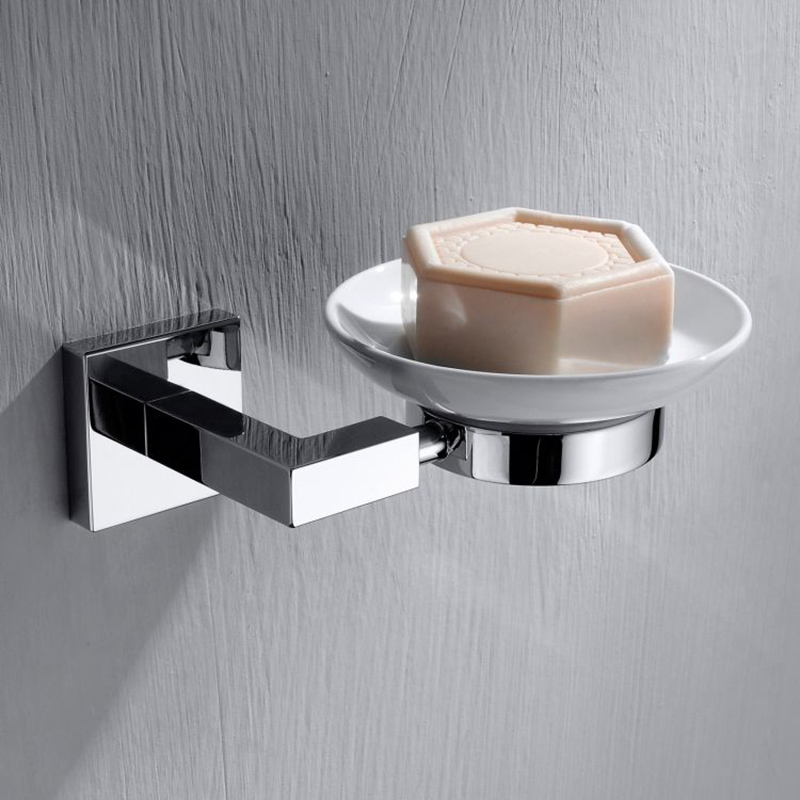 CU Series Square Soap Dish & Holder (Brass & white)