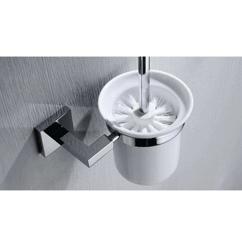 CU Series Square Toilet Brush Holder (Brass & white)