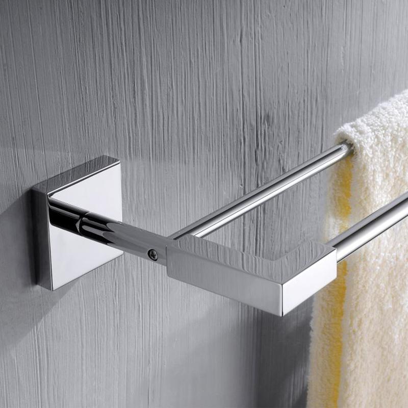 CU Series Square Double Towel Bar (Brass)