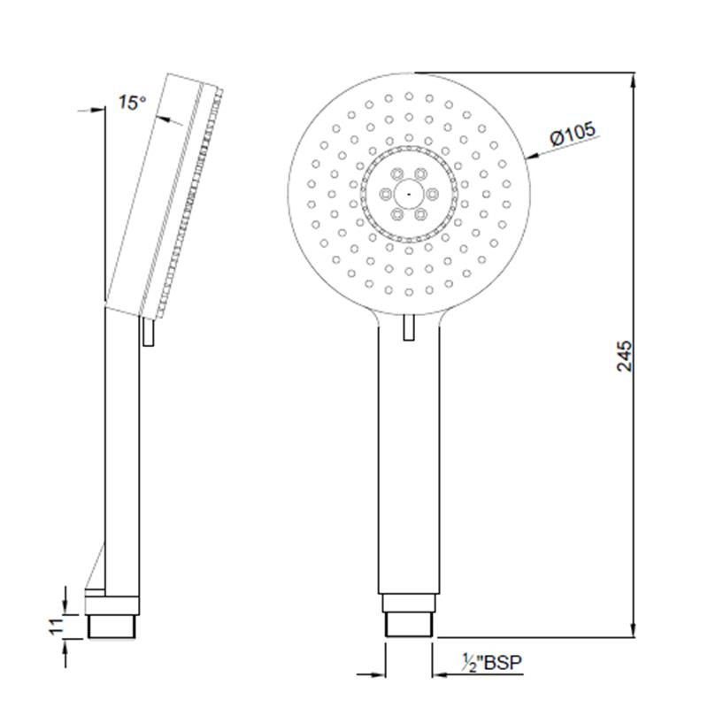 Multifunction 105mm dia Round Shape Hand Shower with Air Effect, LP 0.3
