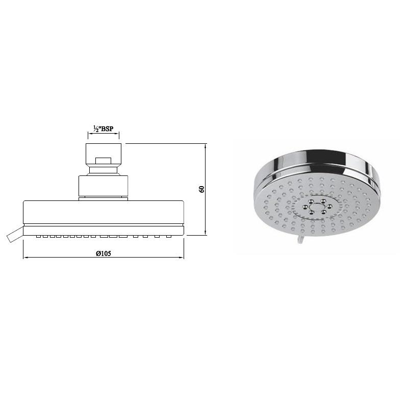 Multifunction 105mm dia Round Shape Overhead Shower with Air Effect, LP 0.3