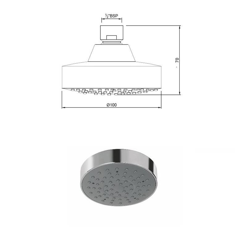 Single Function 100mm dia Round Shape Overhead Shower, LP 0.3