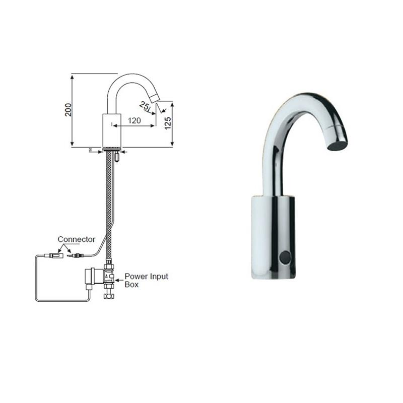 Sensor Sensor Faucet for Wash Basin Deck Mounted Complete with Control Box (Battery Operated), MP 0.5