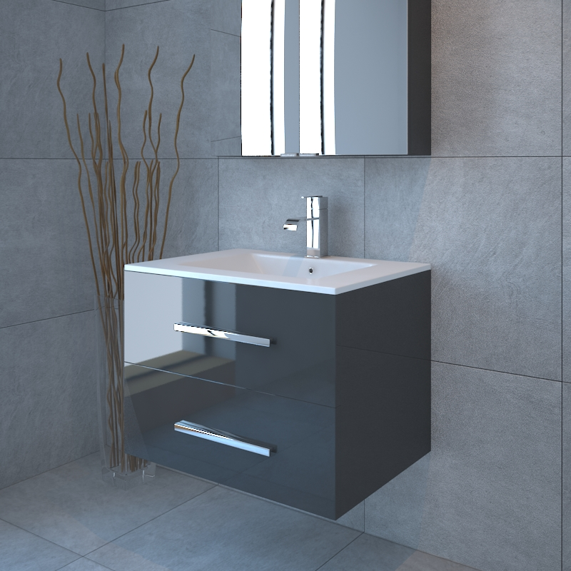 Sonix 800 2 Draw Wall Hung Bathroom Vanity Unit Grey Buy Online At Bathroom City
