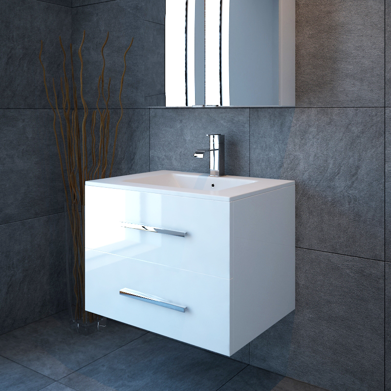 Sonix 800 2 draw wall hung sink unit white buy online at for Bathroom cabinet 800