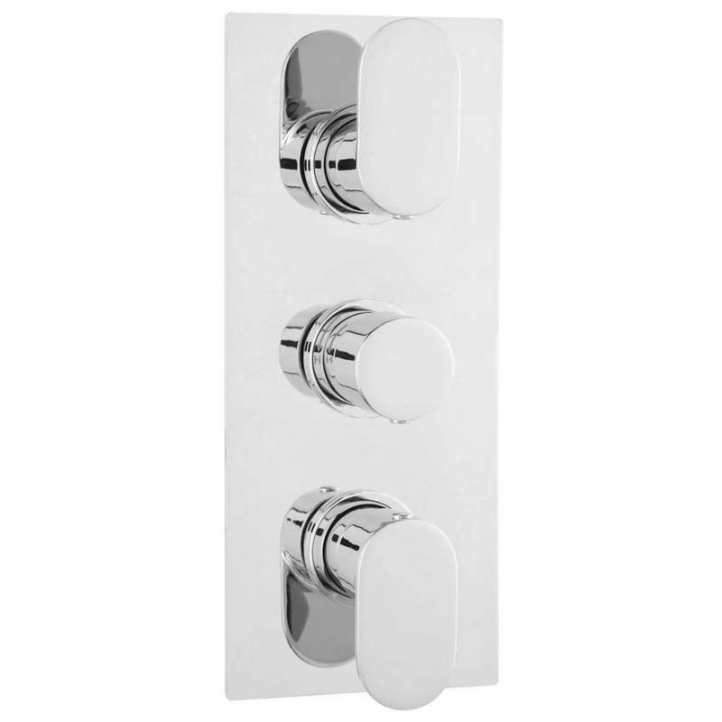 Chrome Reign Therm Triple Valve withDiverter Rect