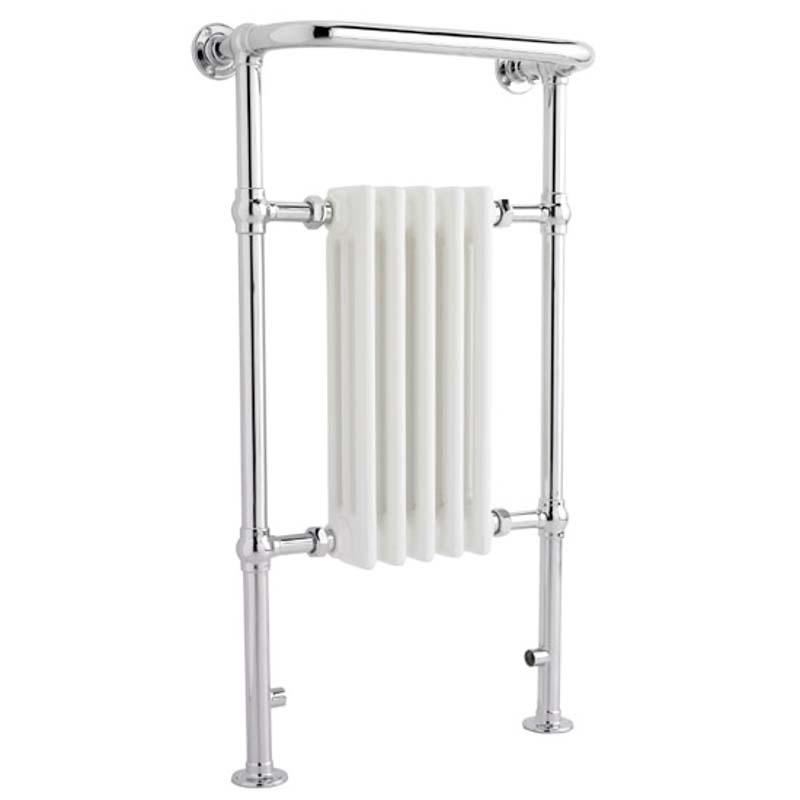 White And Chrome Small Harrow Heated Towel Rail 965x540mm