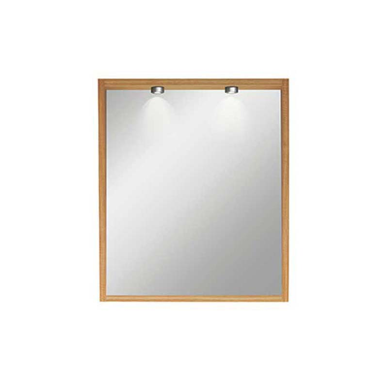 Canterbury Medium Mirror With Lights and Demister Rosedale White