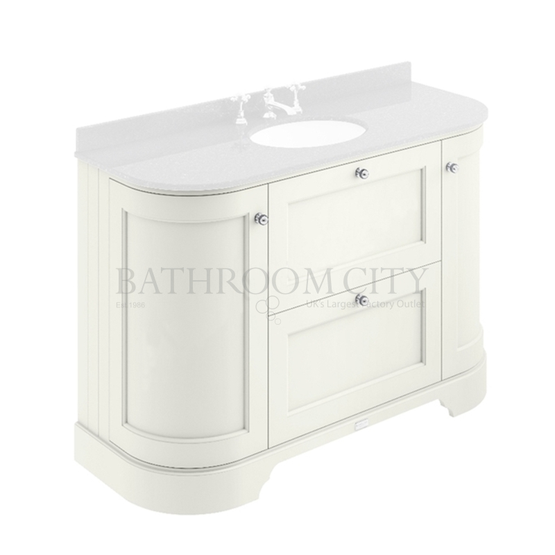 POINTING WHITE 1200MM 2 DRAWER/CURVED DOOR BASIN CABINET