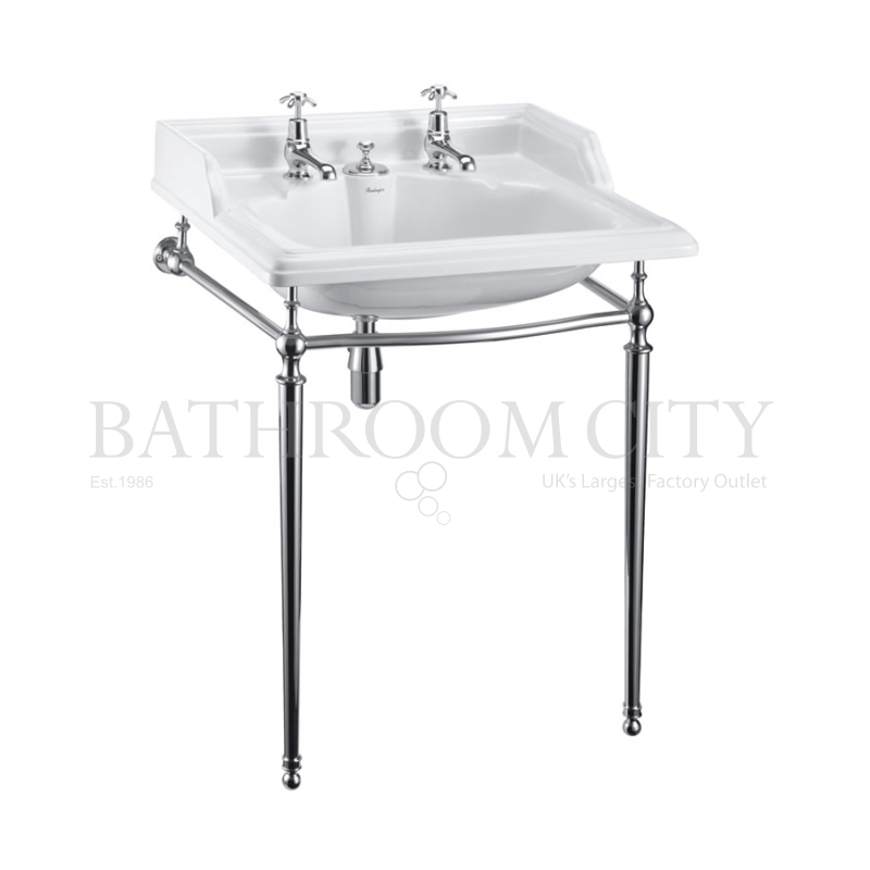 Classic Basin for Integrated Waste & Overflow 65cm 2TH And Chrome washstand