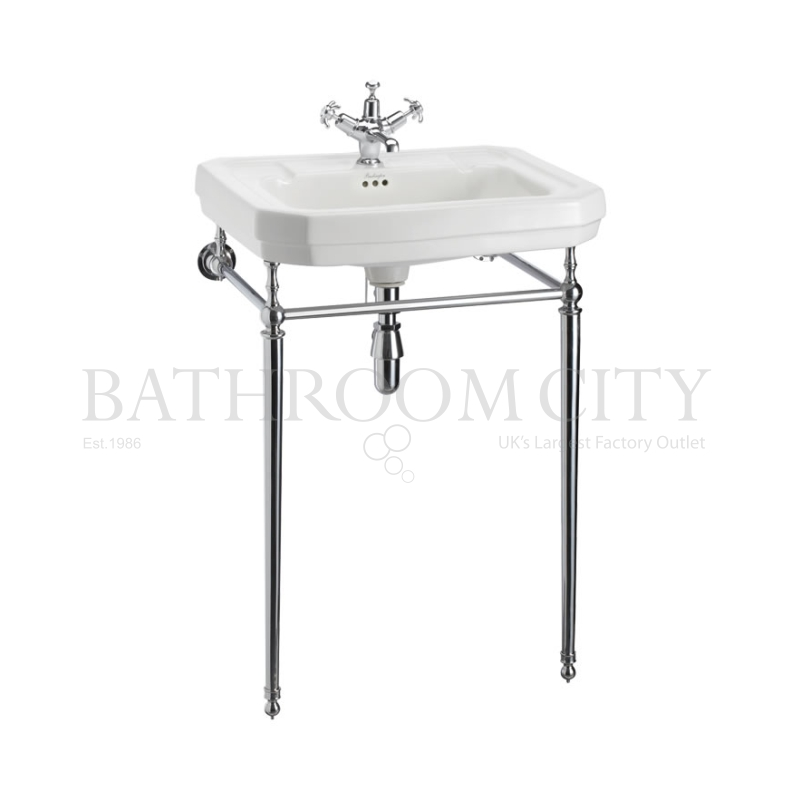 Victorian Basin 61cm 1TH And Chrome Washstand