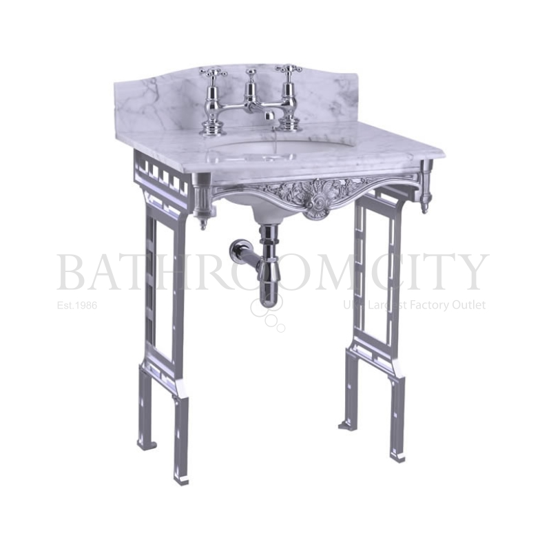 Georgian Marble basin 1TH washstand Aluminium with Splash backs