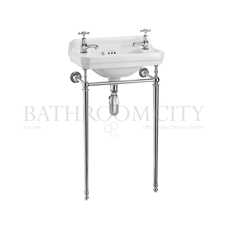 Edwardian Cloakroom Basin 51cm 2TH with chrome basin stand