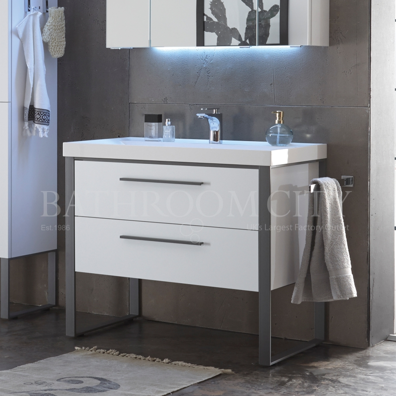 Solitaire 9025 vanity base cabinet 2 drawers 494x1080x450 PG1
