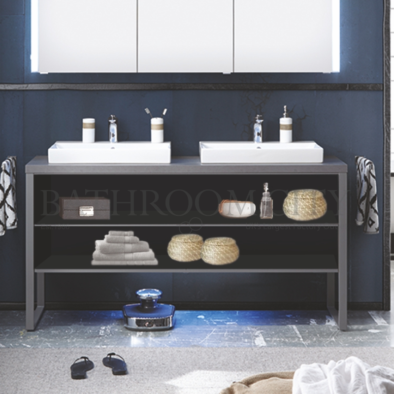 Solitaire 9025 1580 vanity base cabinet, open shelf, with countertop and basisns PG1