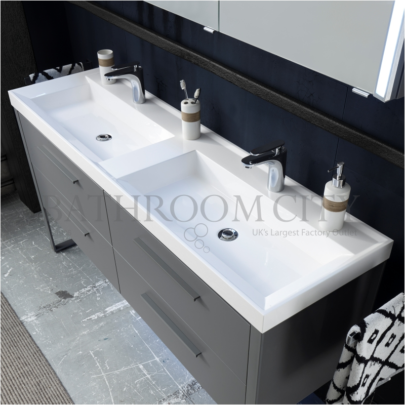Solitaire 9025 1508 vanity base unit 4 drawers and double basin PG1