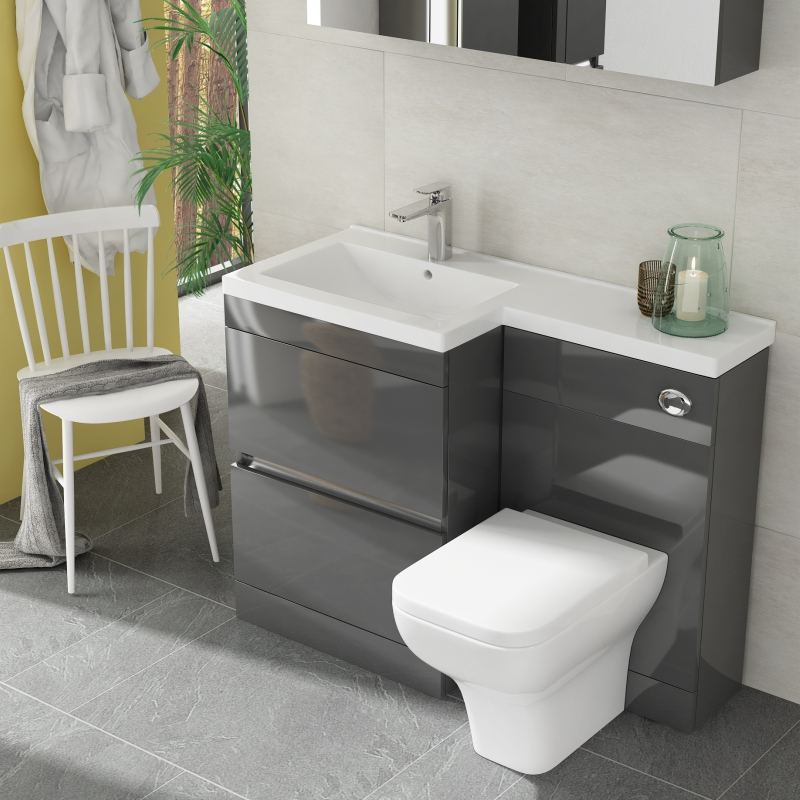 PEMBERTON HANDLESS 2 DRAW FURNITURE UNIT GREY AND LH BASIN