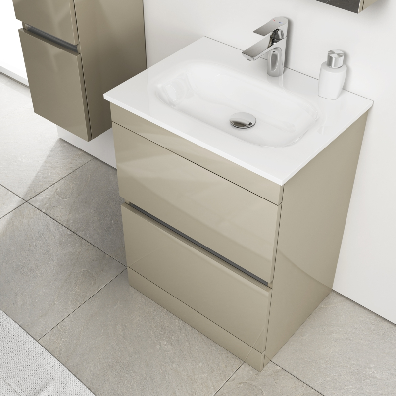 PEMBERTON FLOOR STANDING HANDLESS 2 DRAW UNIT GOLD WITH GLASS STONE BASIN
