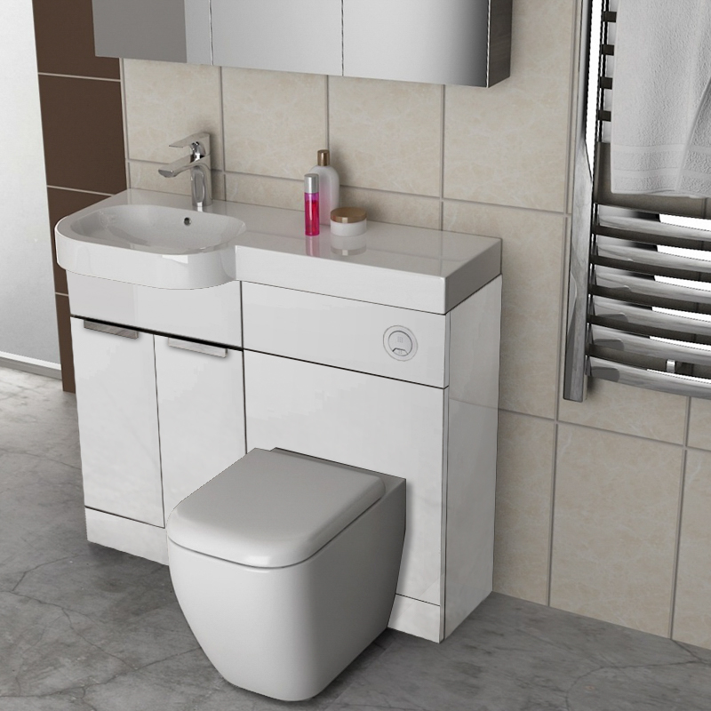 GRAVITY COMBINATION VANITY UNIT WHITE AND BASIN  L/H AND TOILET
