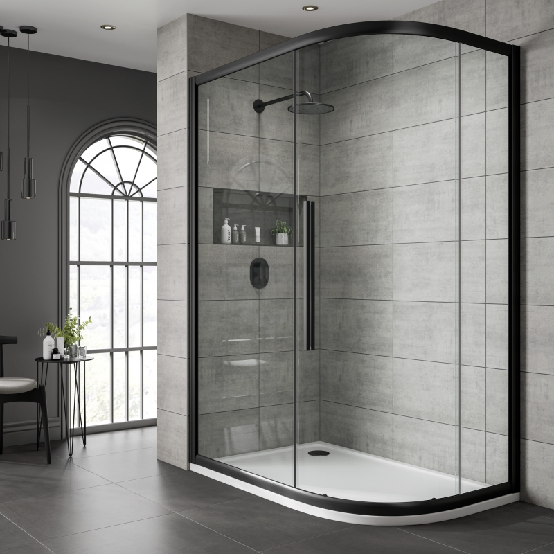 Jaquar Black Shower Cubicle Clear Glass Offset Quad