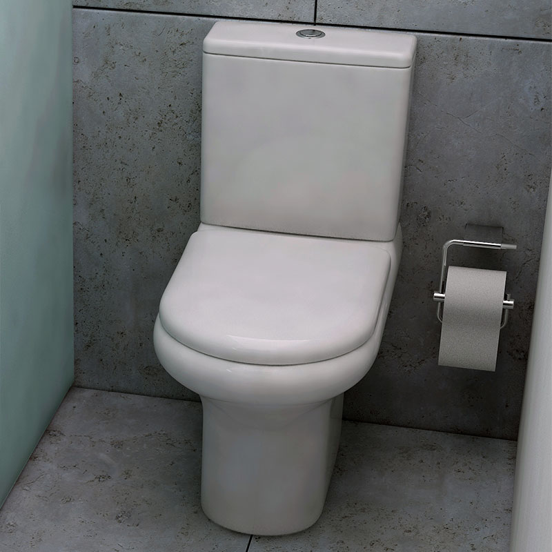 Compact Close Coupled Toilet with Cistern and Soft Close Seat