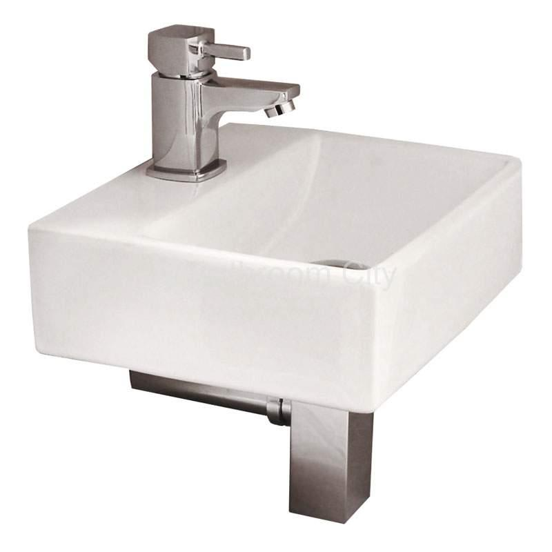 Trax Wall Hung Basin with Concept Mini Tap, Square Bottle Trap and Waste
