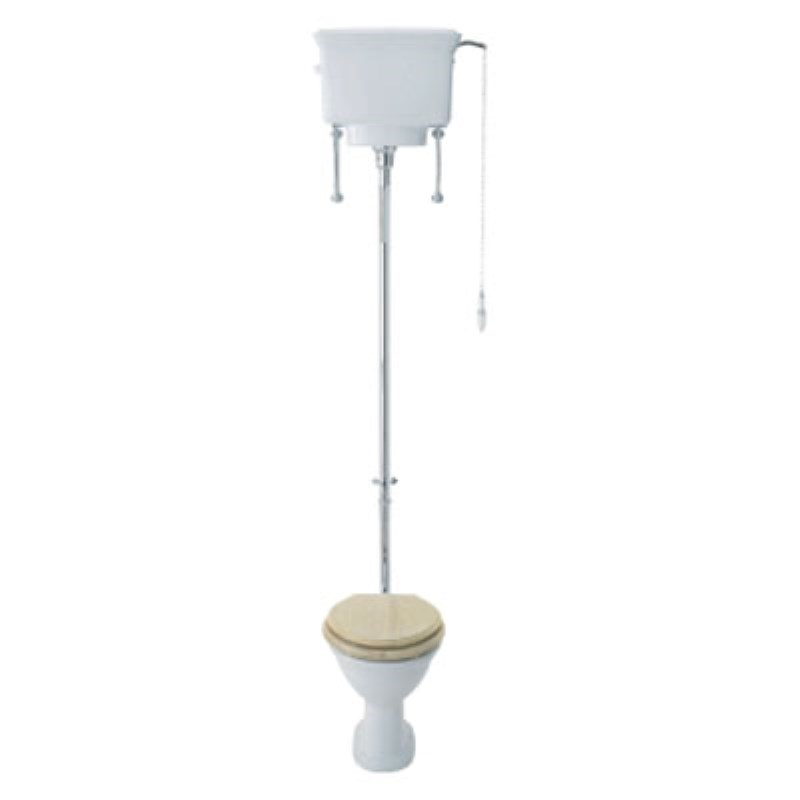 Balmoral High Level Toilet with Cistern, Flush Pipe Kit and Cistern Pull Chain Lever & Mahogany seat
