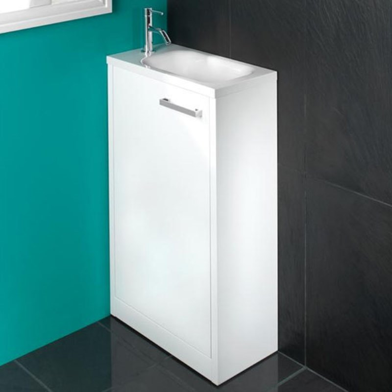 Solo 500mm floor standing white gloss unit basin buy for Bathroom cabinets 500mm wide