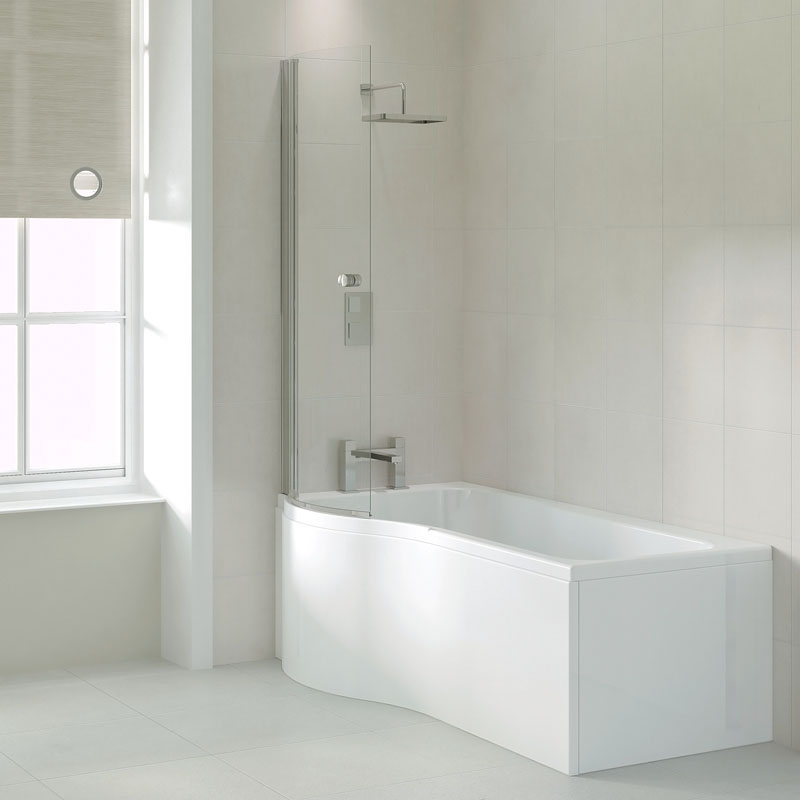 Shaped Baths Small Bathrooms: Ethan 1700 P Shaped Shower Bath (left Handed) Buy Online