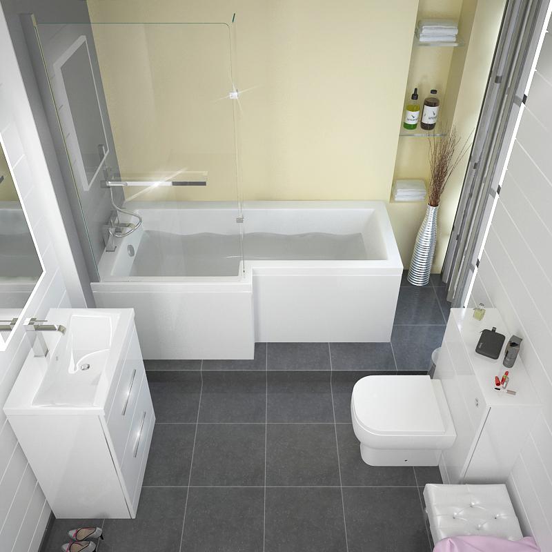 L Shape Shower Bath Left Handed Buy Online At Bathroom City