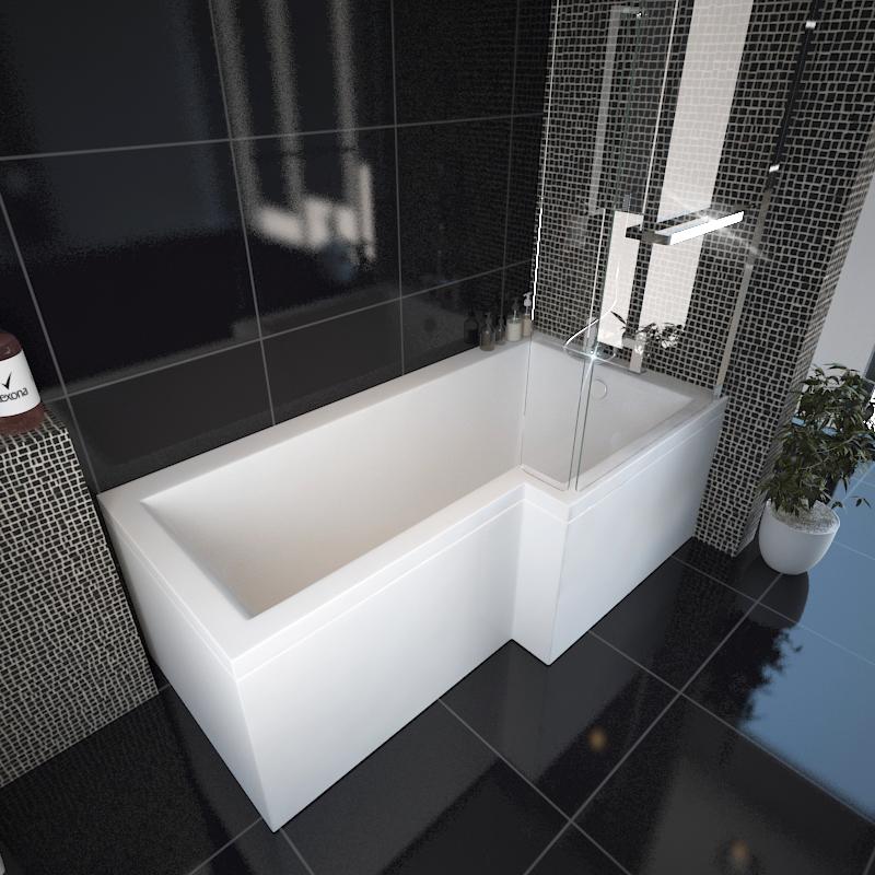 l shape shower bath right handed buy online at bathroom city. Black Bedroom Furniture Sets. Home Design Ideas