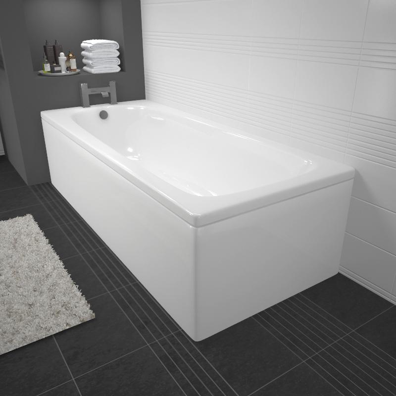 Mercury 1700x700mm Straight Acrylic Bath