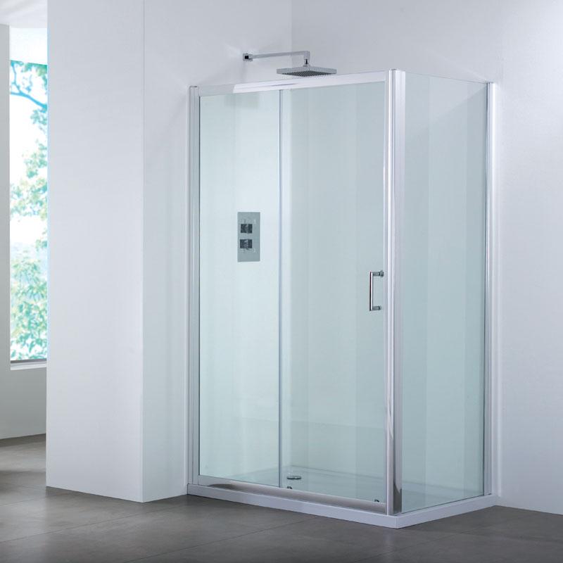 Bathroom city 1200 sliding shower door side panel shower for Bath 1200