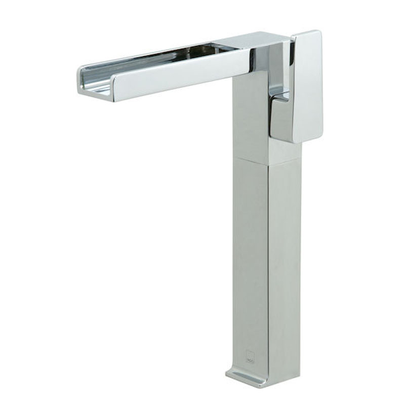 progressive extended mono basin mixer with waterfall spout single lever deck mounted smooth bodied no watse