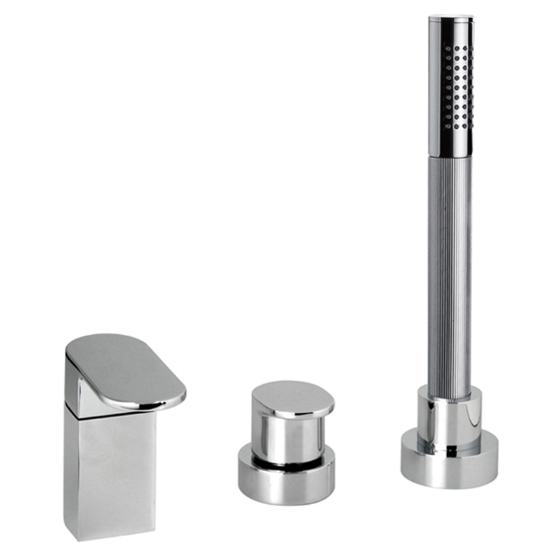 3 hole bath shower mixer single lever deck mounted without spout for use with bath filler waste