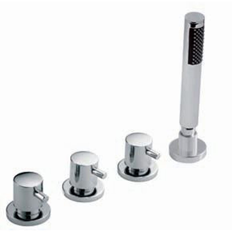4 hole bath shower mixer deck mounted without spout for use with bath filler waste and overflow