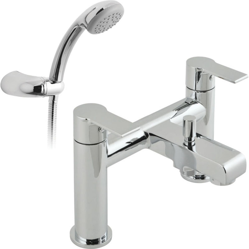 2 hole bath shower single lever mixer deck mounted with shower kit