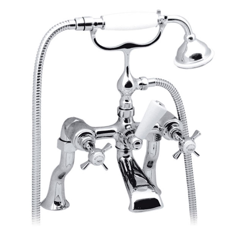 bath shower mixer pillar mounted with shower kit - chrome