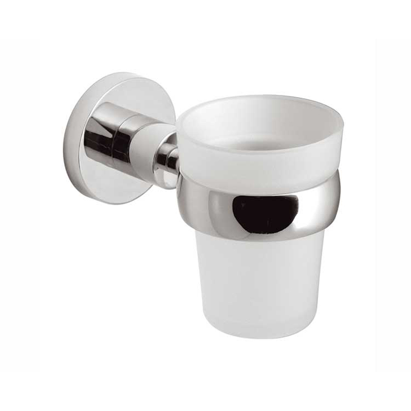 frosted glass tumbler and holder wall mounted