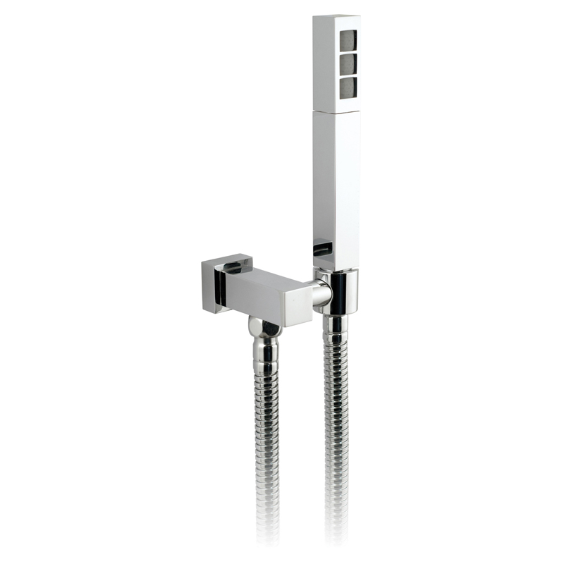 mix single function mini shower kit with integrated outlet and bracket wall mounted