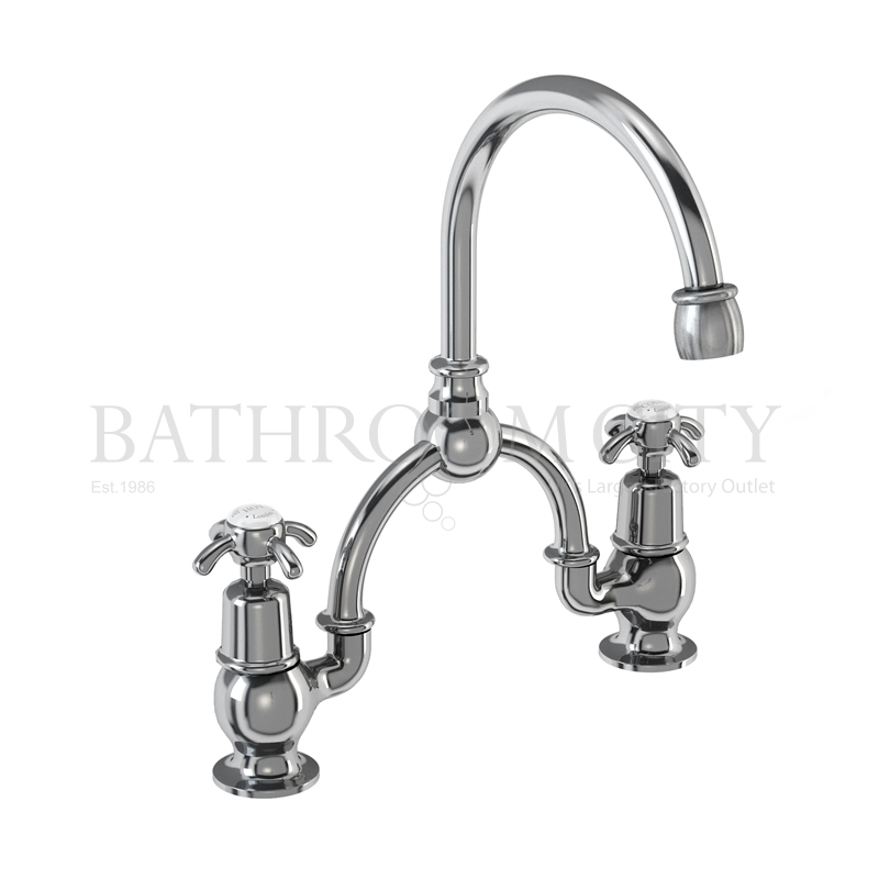 Anglesey Two tap hole arch mixer black indice with curved spout (250mm centres)