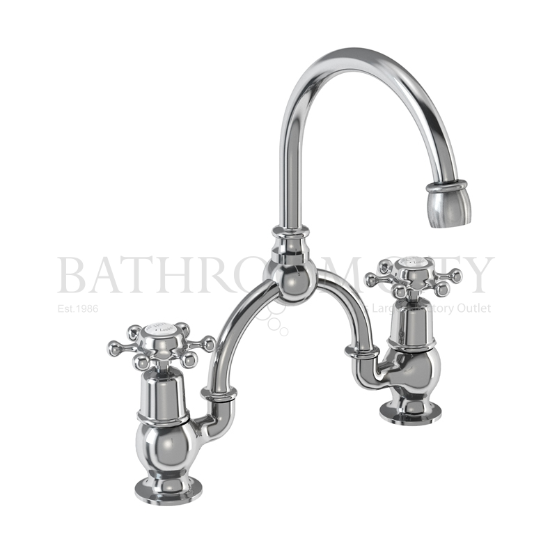 Birkenhead Two tap hole arch mixer black indice with curved spout (250mm centres)