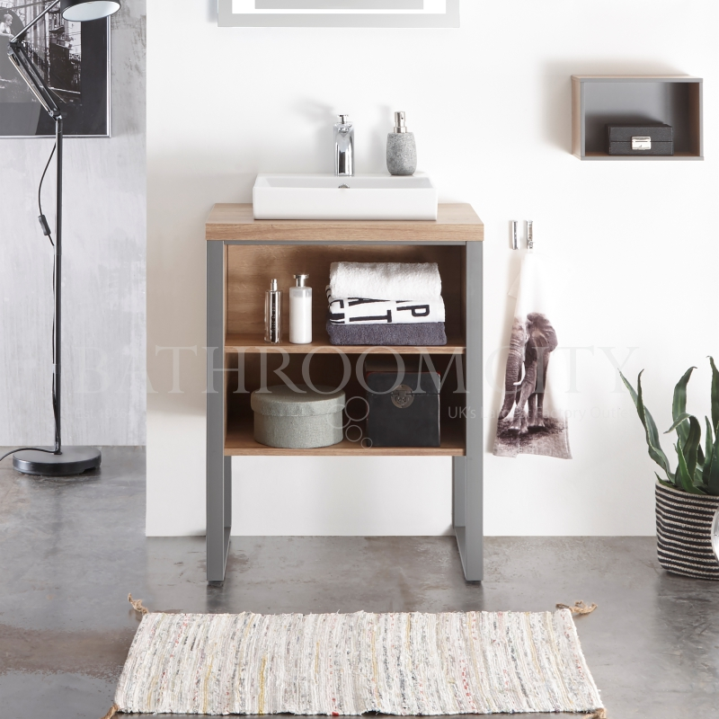 Solitaire 9025 Traditional  630 vanity unit with legs, open shelf, counter top and basin PG1