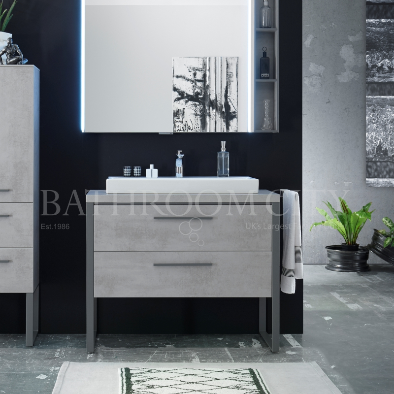 Solitaire 9025 630 vanity base cabinet 2 drawers and basin PG1