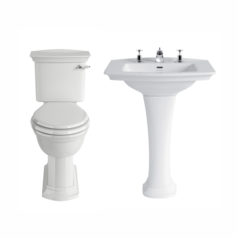 Blenheim Basin standard basin 1 tap hole and ped with close coupled toilet 4 piece bathroom set
