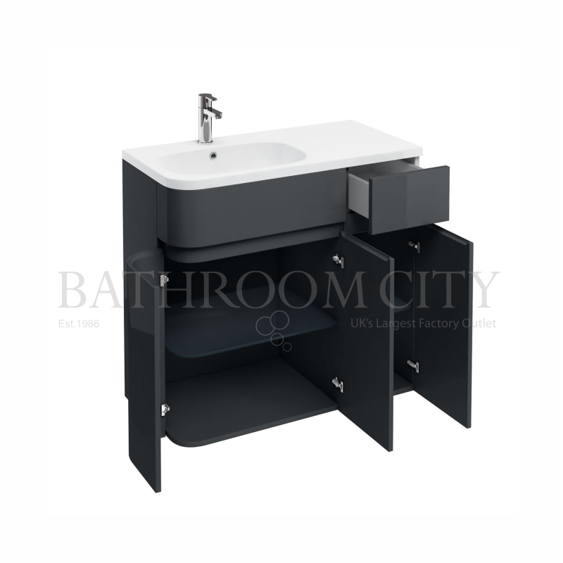 900mm Arc Cabinet Left,Anthracite grey unit and basin